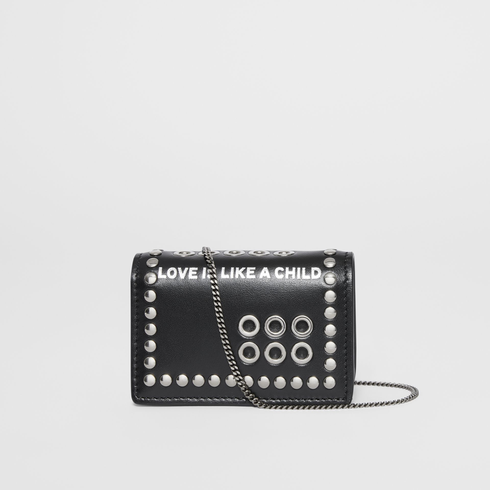 Embellished Leather Card Case with Detachable Strap in Black - Women | Burberry Australia - gallery image 8