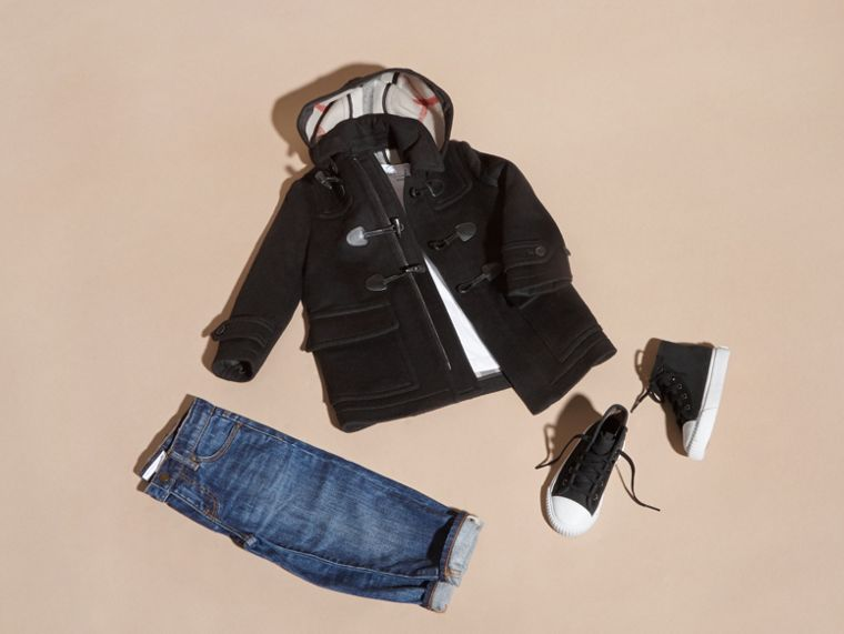 Wool Duffle Coat with Check-lined Hood Black - cell image 4