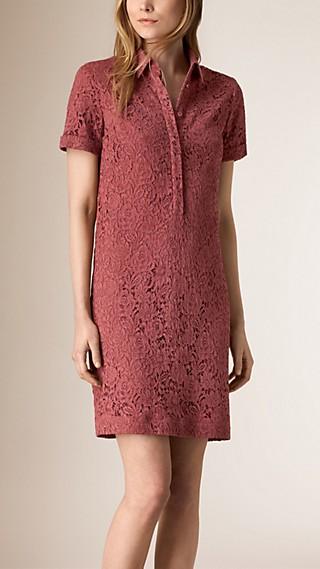 Robe chemise en dentelle italienne à motif floral