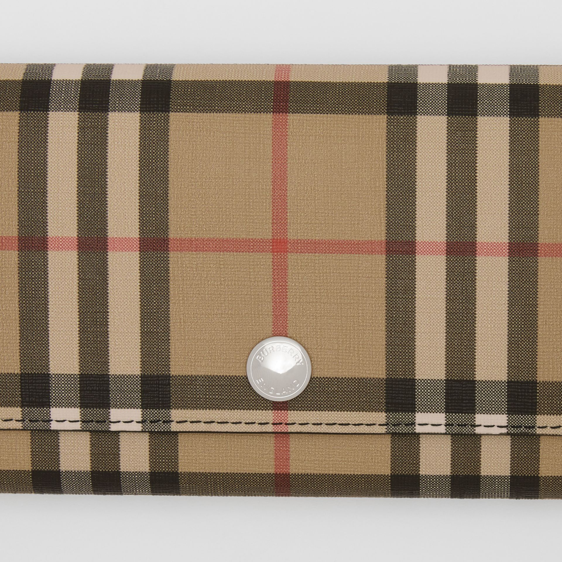 Vintage Check E-canvas Continental Wallet in Black - Women | Burberry - gallery image 1