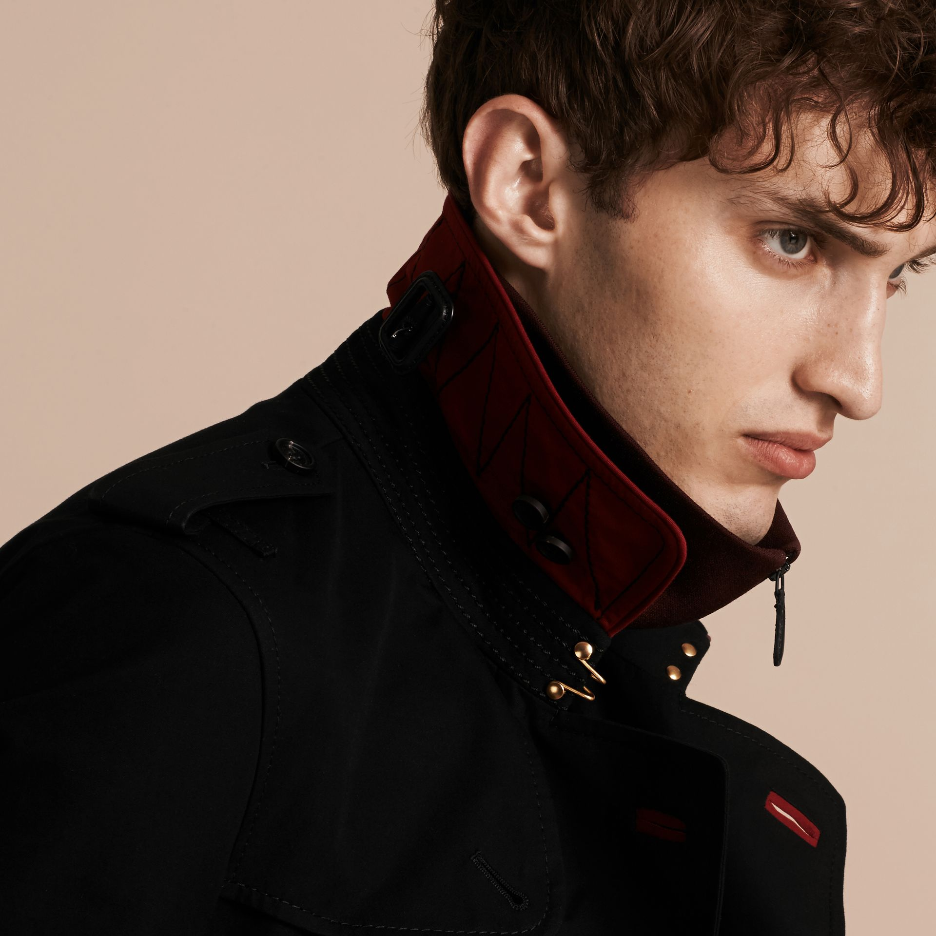 Black Military Detail Cotton Trench Coat - gallery image 5