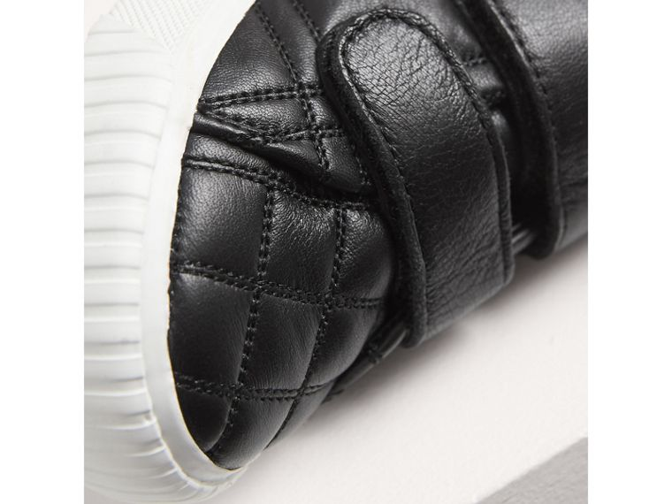 Check-quilted Leather High-top Sneakers in Black | Burberry United States - cell image 1