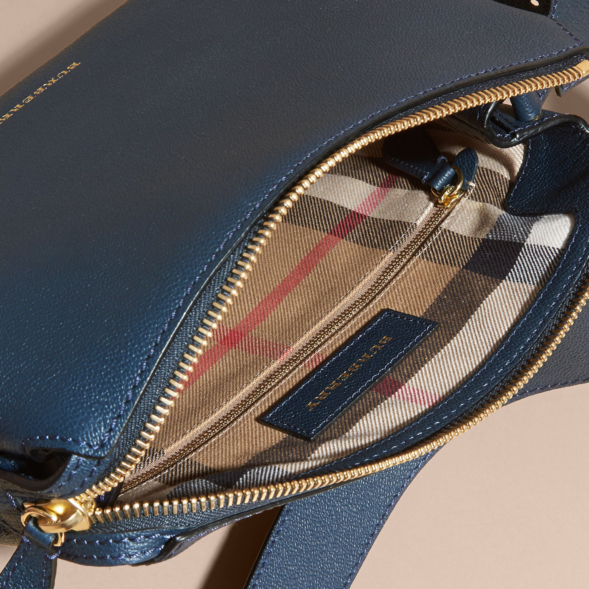 Buckle Detail Leather Crossbody Bag in Blue Carbon - gallery image 5