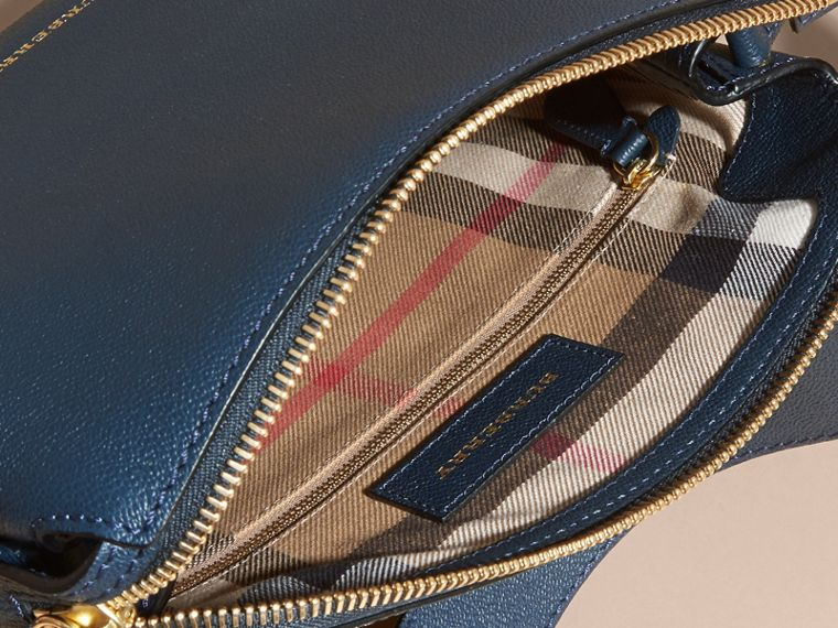 Buckle Detail Leather Crossbody Bag in Blue Carbon - cell image 4