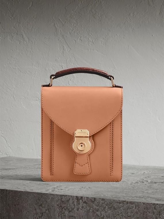 Bolsa satchel DK88 com alça de couro de crocodilo - Pequena (Clementina Claro)
