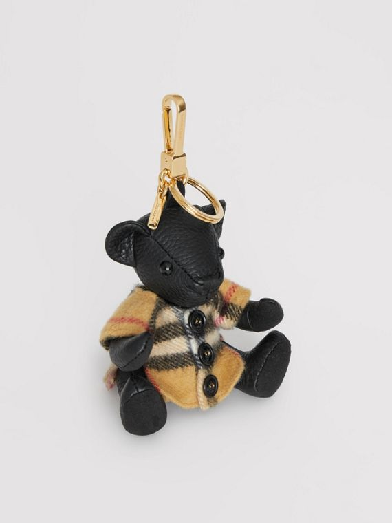 Adorno do Thomas Bear com poncho em Vintage Check (Preto)