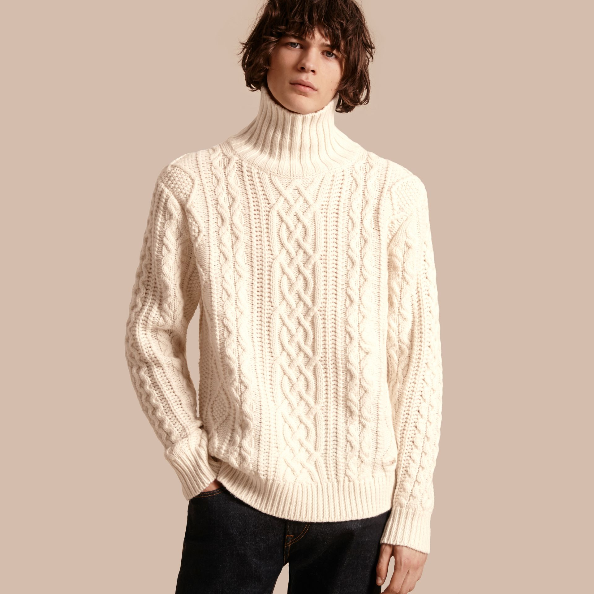 Natural white Funnel Neck Cashmere Cable Knit Sweater - gallery image 1