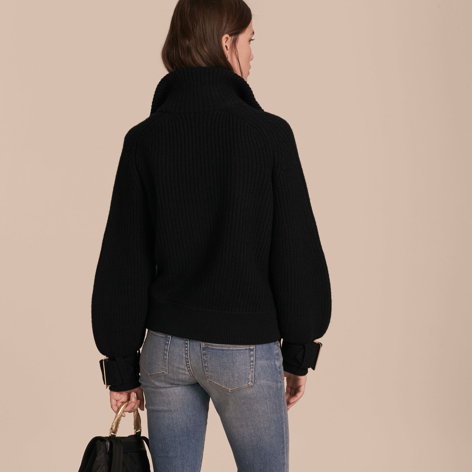 Black Knitted Wool Cashmere Bomber Jacket with Bell Sleeves - gallery image 5