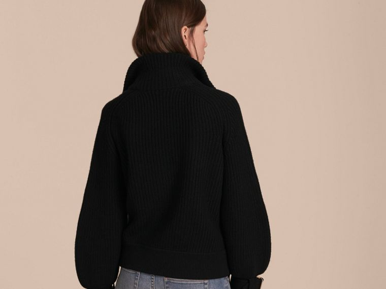 Black Knitted Wool Cashmere Bomber Jacket with Bell Sleeves - cell image 4