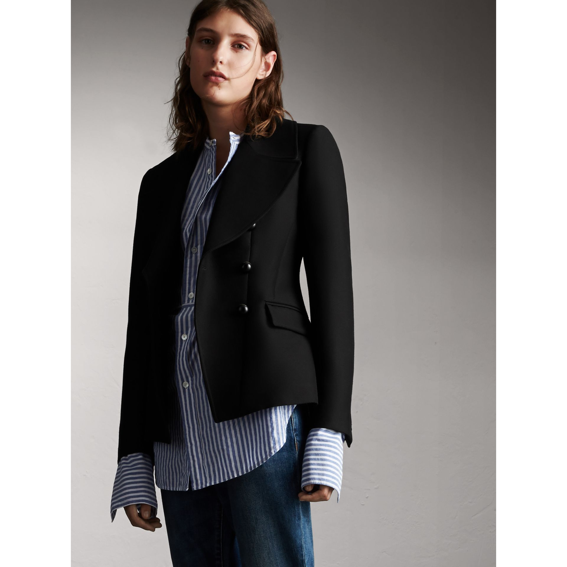 Wool Cotton Blend Tailored Double-breasted Jacket in Black - Women | Burberry - gallery image 1