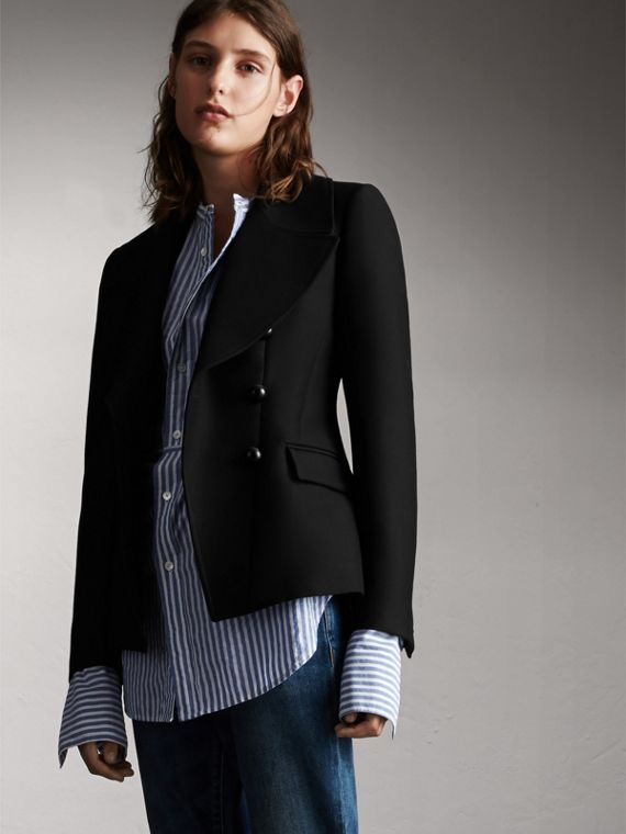Wool Cotton Blend Tailored Double-breasted Jacket
