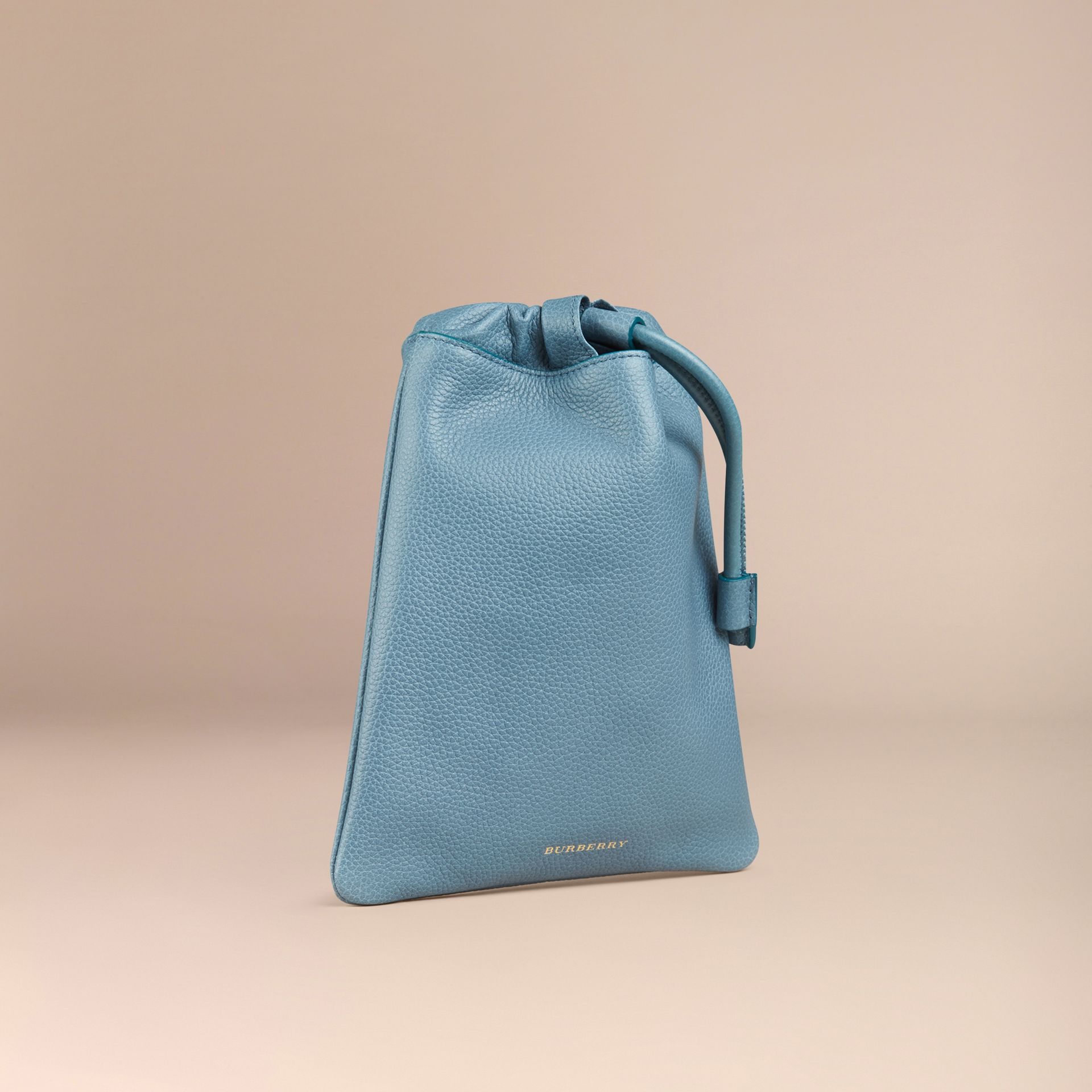 Dusty teal Grainy Leather Drawstring Pouch Dusty Teal - gallery image 3
