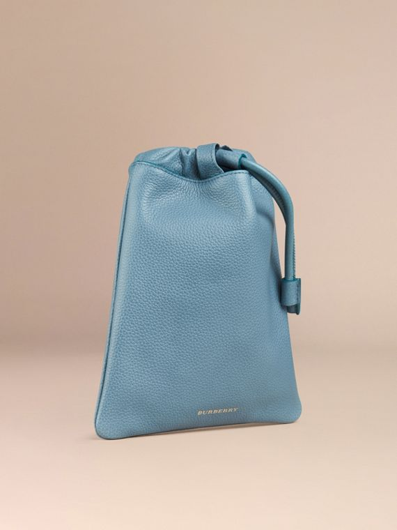 Dusty teal Grainy Leather Drawstring Pouch Dusty Teal - cell image 2