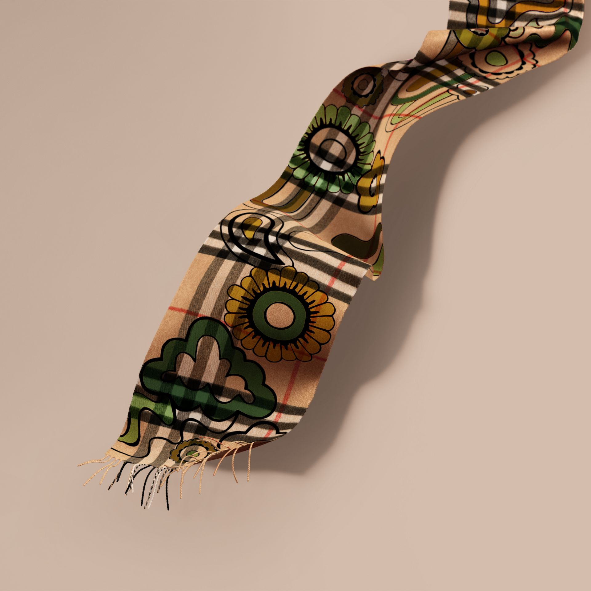Floral Pop Print and Check Cashmere Scarf Camel/yellow Olive - gallery image 1