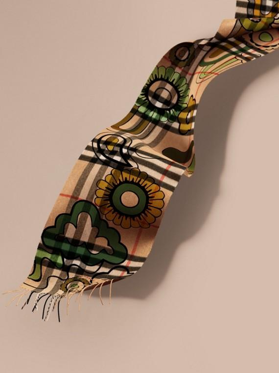 Sciarpa in cashmere con motivo tartan e stampa floreale pop art Cammello/giallo Oliva
