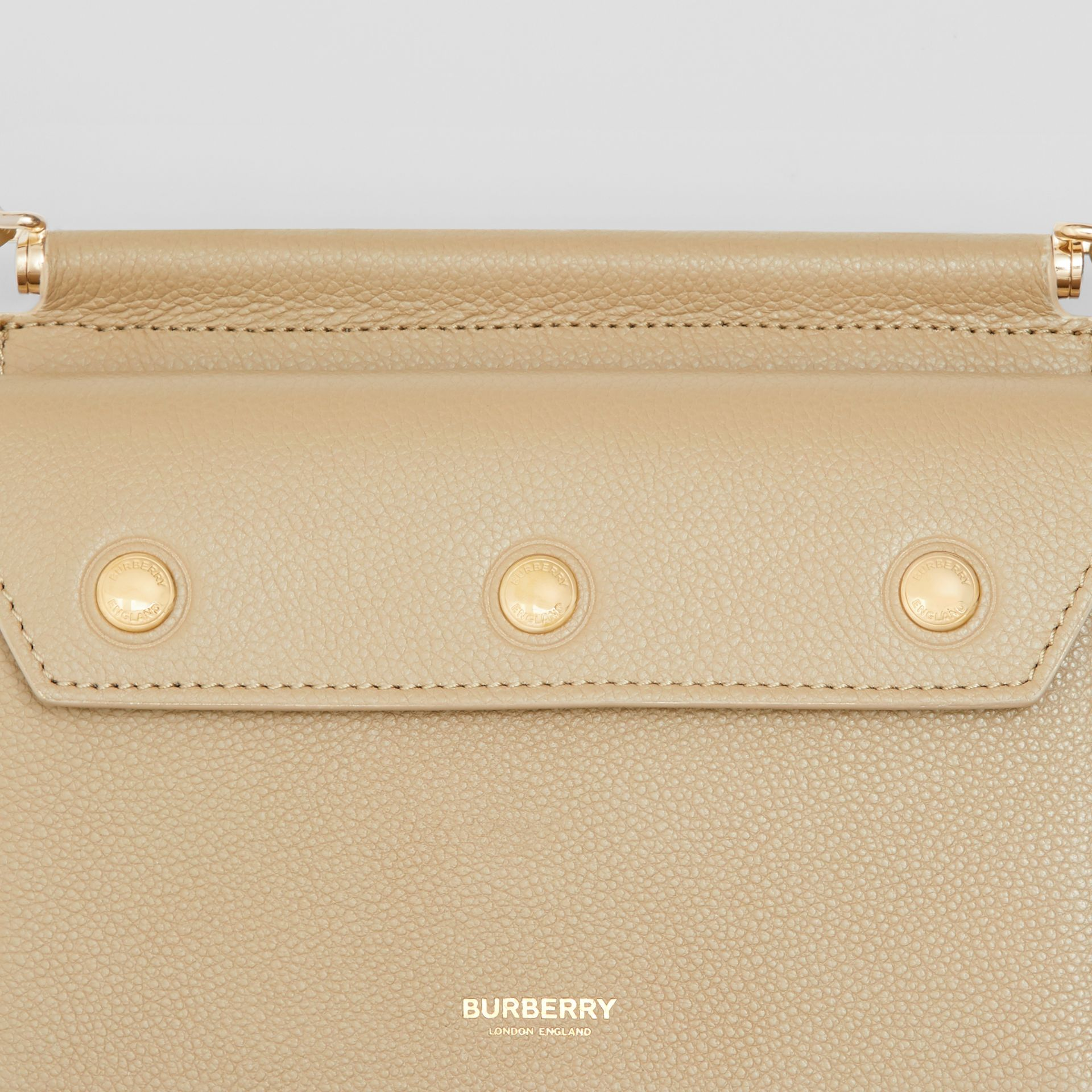 Mini Leather Title Bag with Pocket Detail in Honey - Women | Burberry - gallery image 1