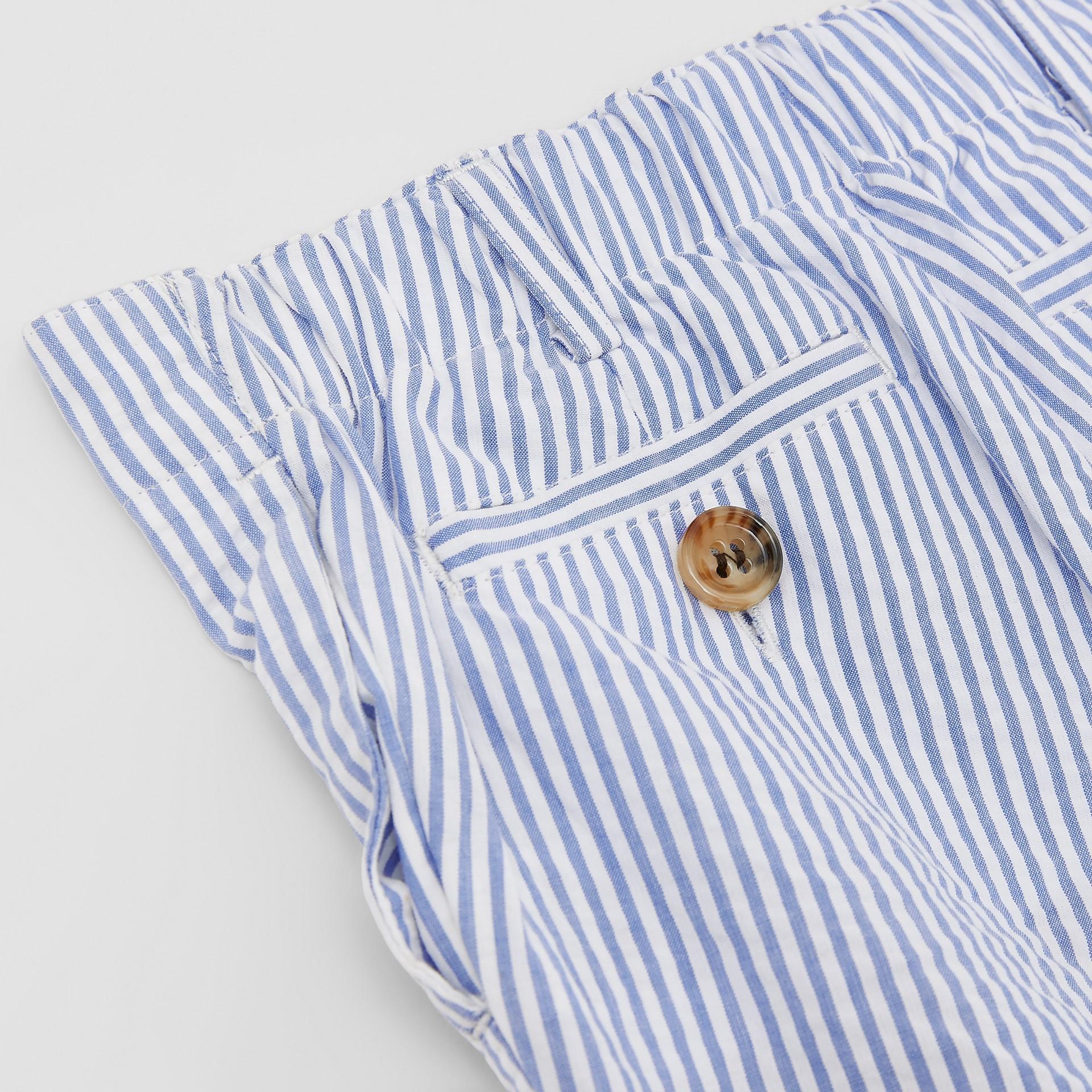 Striped Cotton Seersucker Tailored Trousers in Cornflower Blue - Children | Burberry - gallery image 1