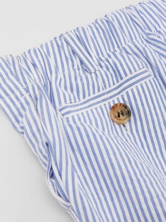 Striped Cotton Seersucker Tailored Trousers in Cornflower Blue - Children   Burberry - cell image 1