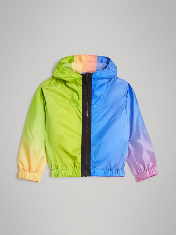 Rainbow Print Lightweight Hooded Jacket in Multicolour
