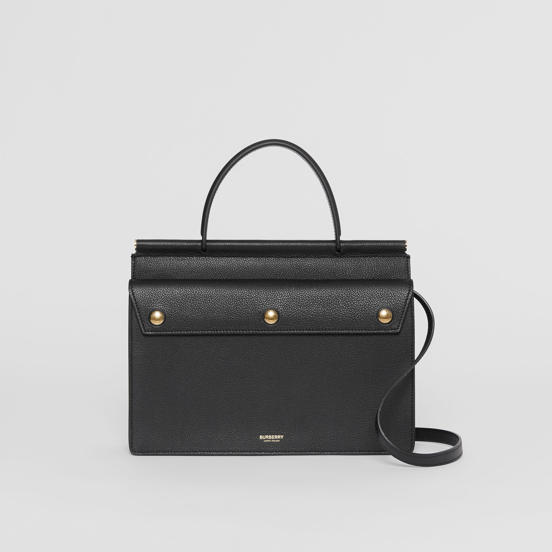 Small Leather Title Bag with Pocket Detail in Black - Women | Burberry - gallery image 0