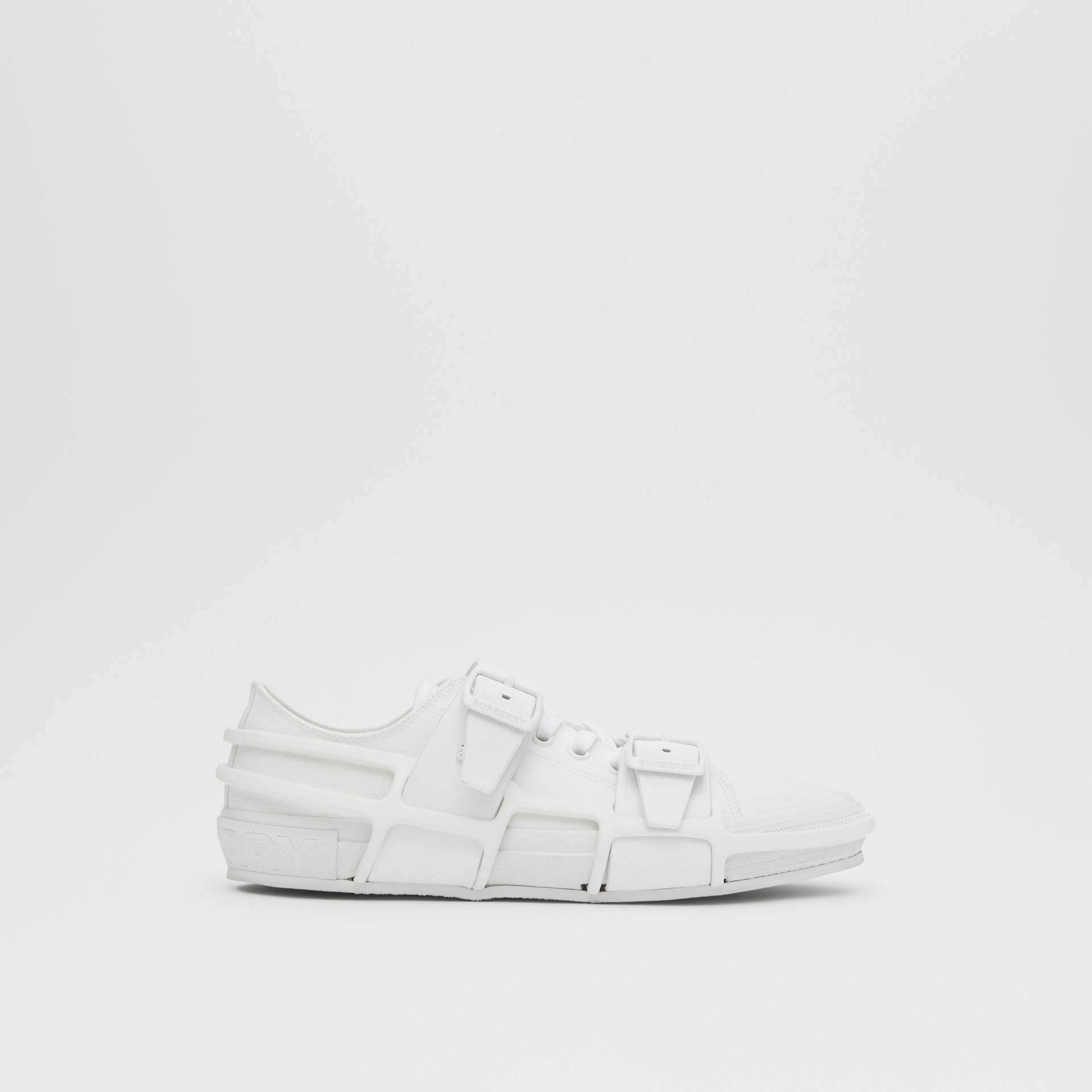 Cotton and Leather Webb Sneakers in White | Burberry United Kingdom - gallery image 5