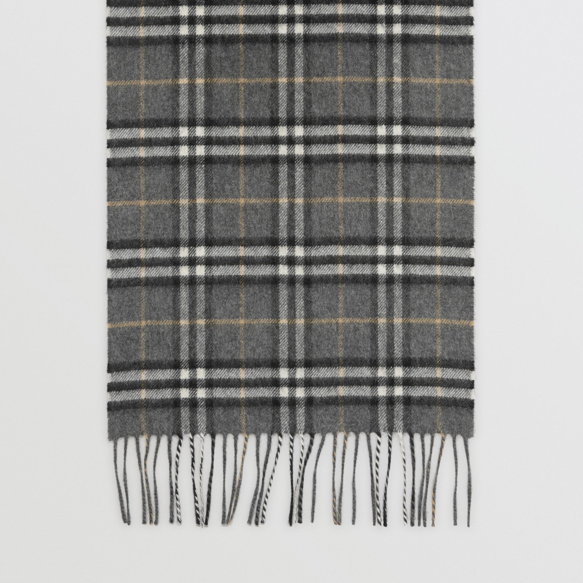 The Classic Vintage Check Cashmere Scarf in Pewter Grey | Burberry Australia - gallery image 4