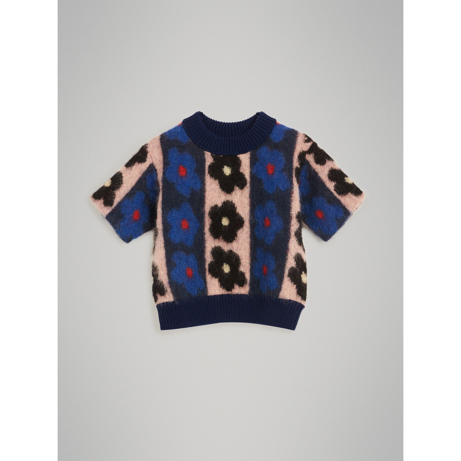 Short-sleeve Flower Intarsia Mohair Blend Sweater in Navy | Burberry - gallery image 0
