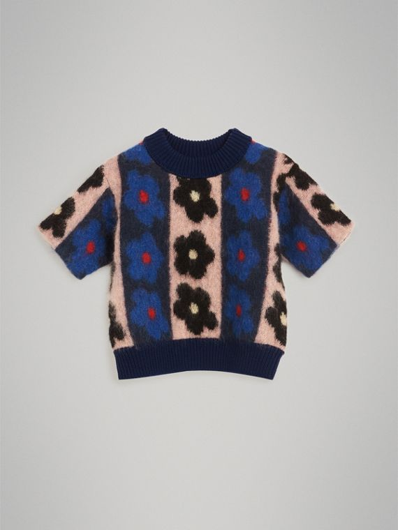 Short-sleeve Flower Intarsia Mohair Blend Sweater in Navy