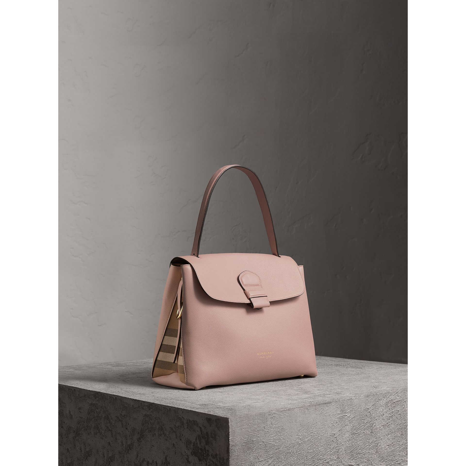 Medium Grainy Leather and House Check Tote Bag in Pale Orchid - Women | Burberry - gallery image 1