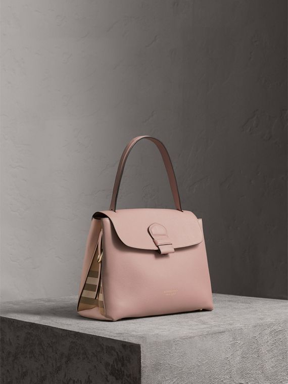 Medium Grainy Leather and House Check Tote Bag in Pale Orchid