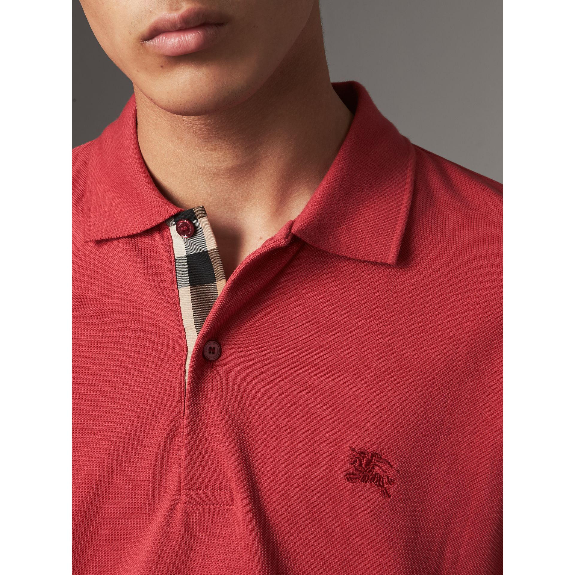 Check Placket Cotton Piqué Polo Shirt in Coral Red - Men | Burberry - gallery image 1