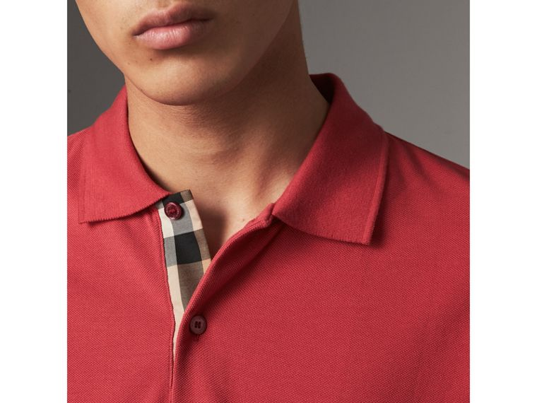 Check Placket Cotton Piqué Polo Shirt in Coral Red - Men | Burberry United Kingdom - cell image 1