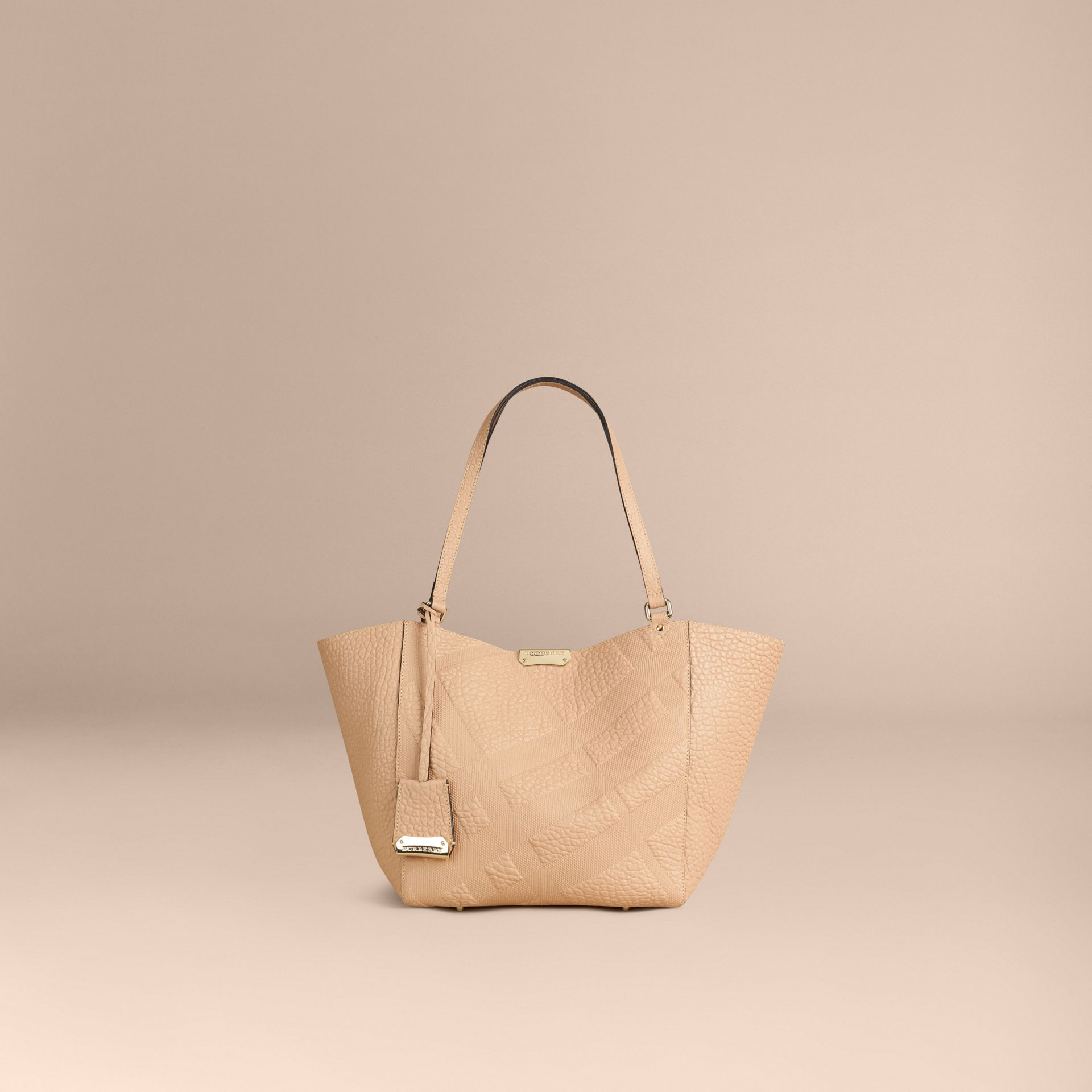 Pale apricot The Small Canter in Embossed Check Leather Pale Apricot - gallery image 2