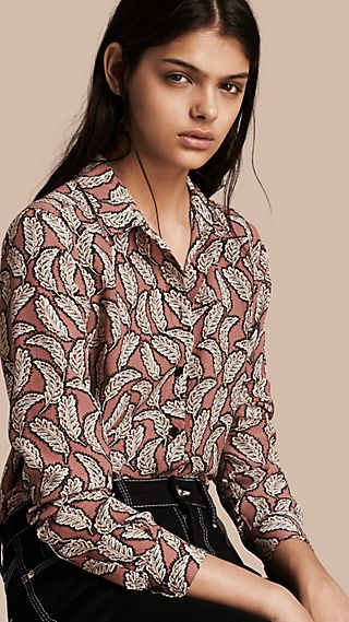 Leaf Print Silk Shirt