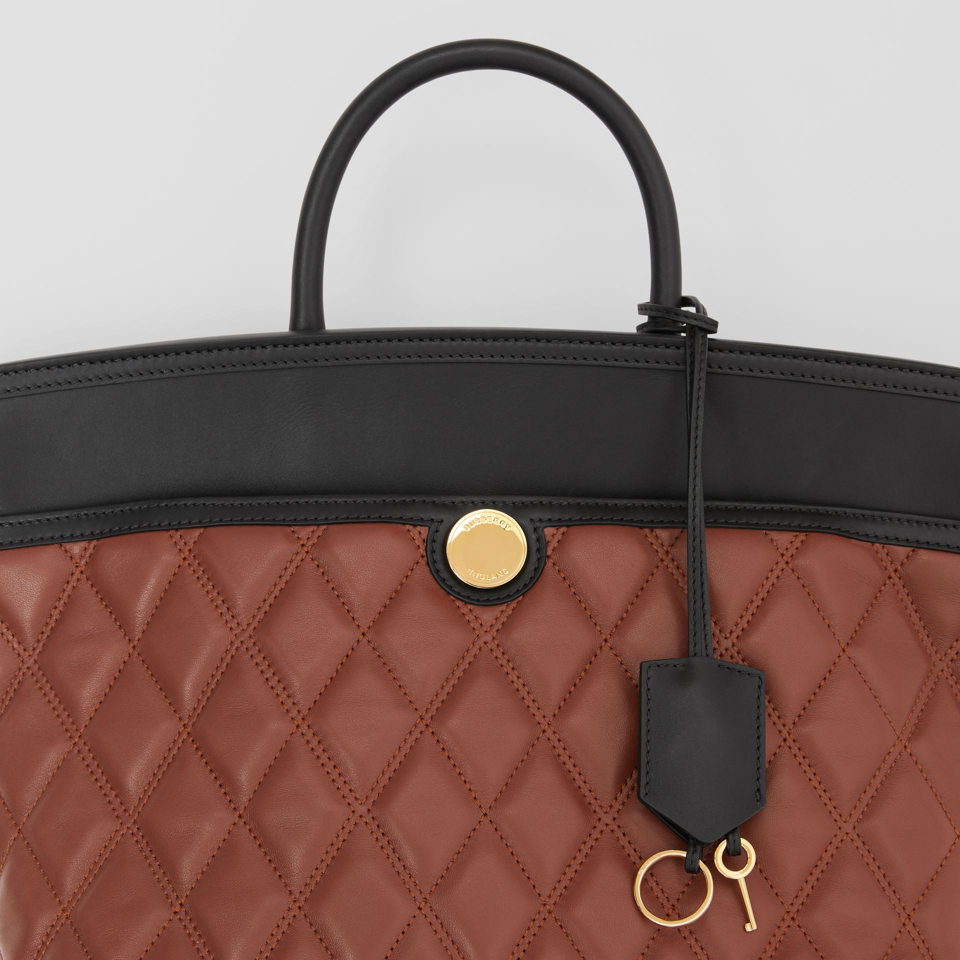 Small Quilted Lambskin Society Top Handle Bag in Tan - Women | Burberry United Kingdom - gallery image 8