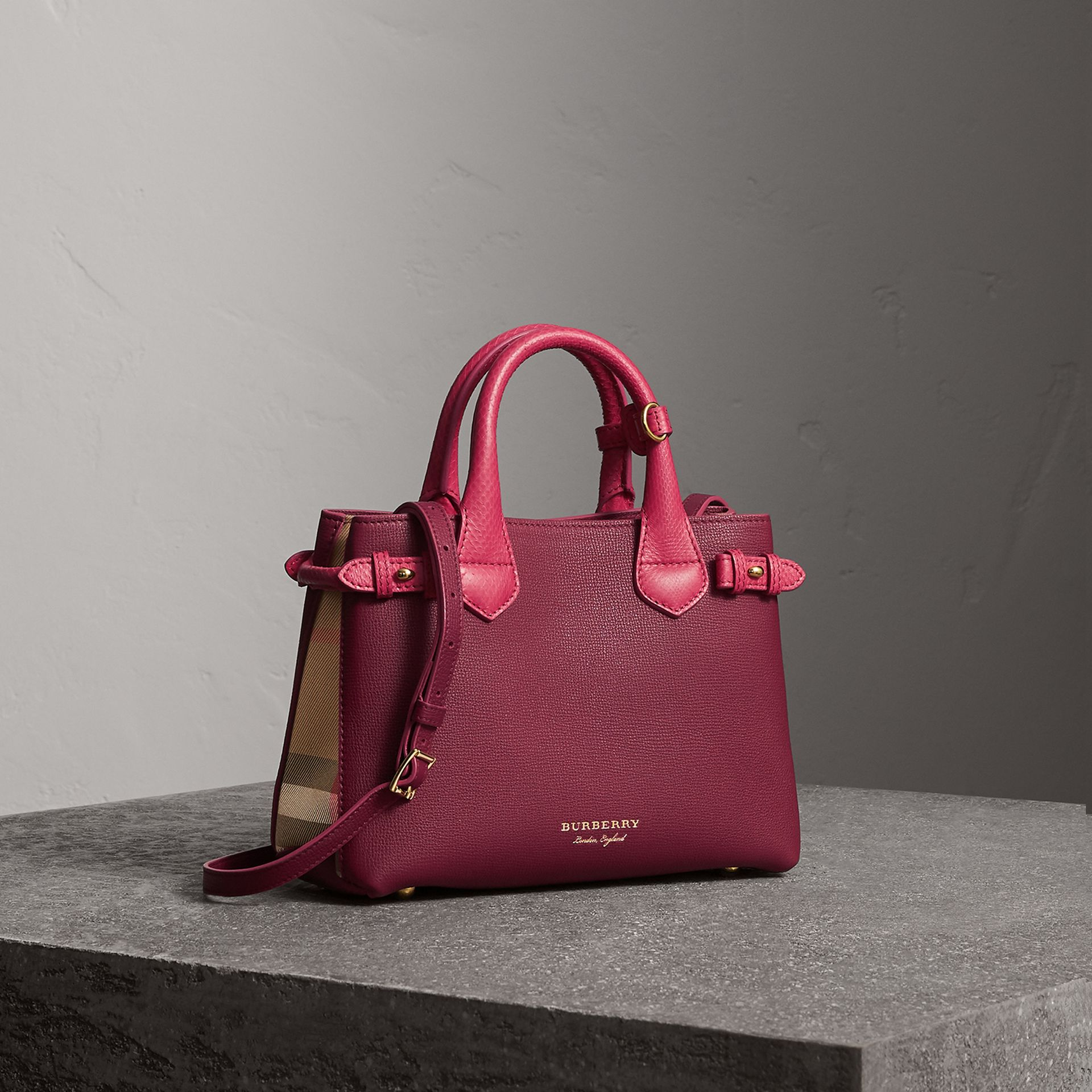 The Small Banner in Two-tone Leather in Berry Pink - Women | Burberry - gallery image 0