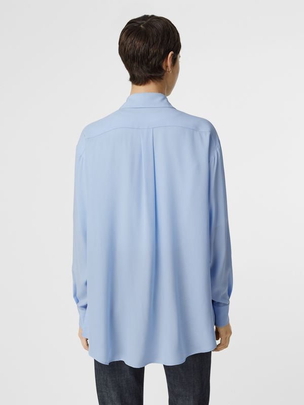 Monogram Print Trim Silk Oversized Shirt in Pale Blue - Women | Burberry - cell image 2