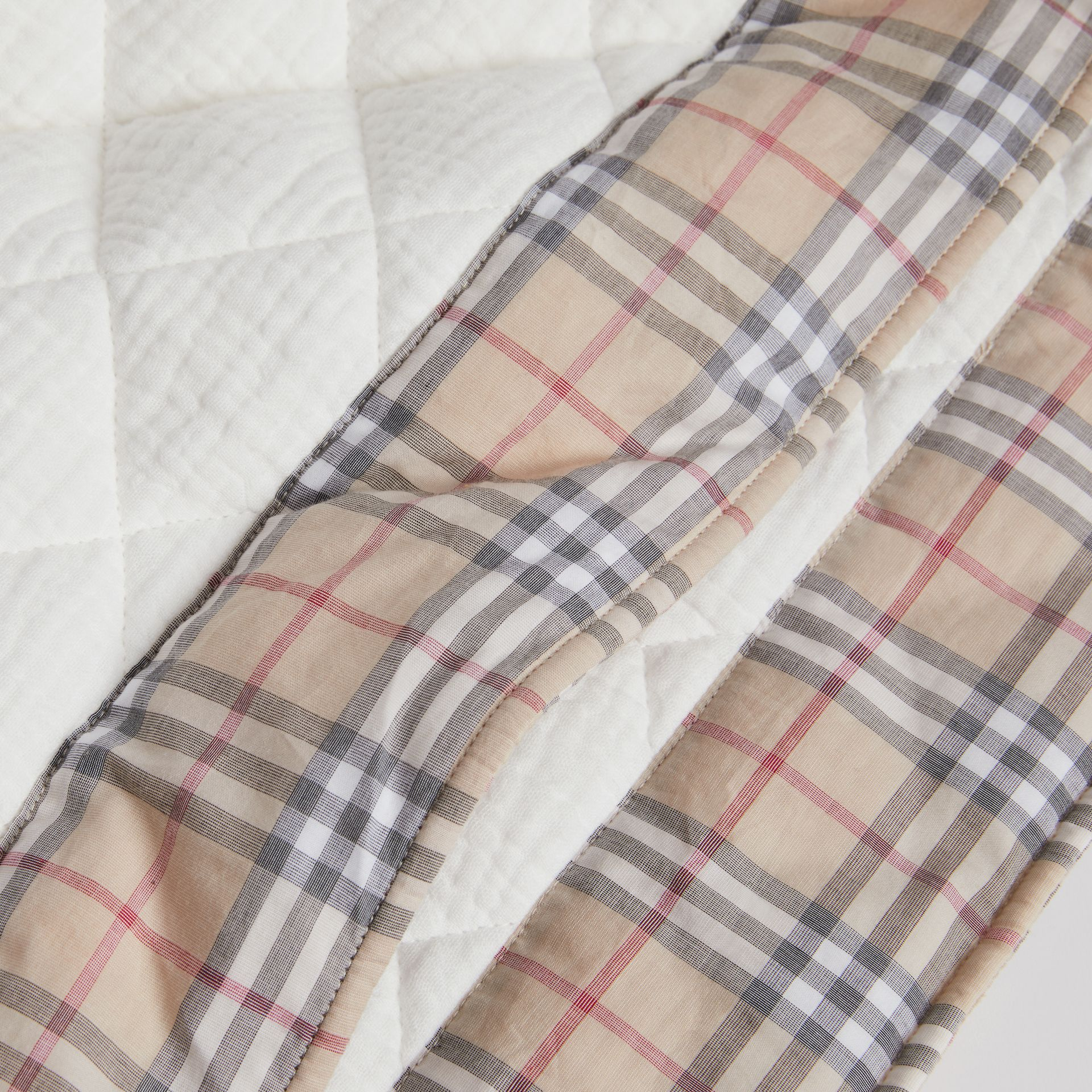 Diamond Quilted Vintage Check Cotton Baby Blanket in White - Children | Burberry - gallery image 1
