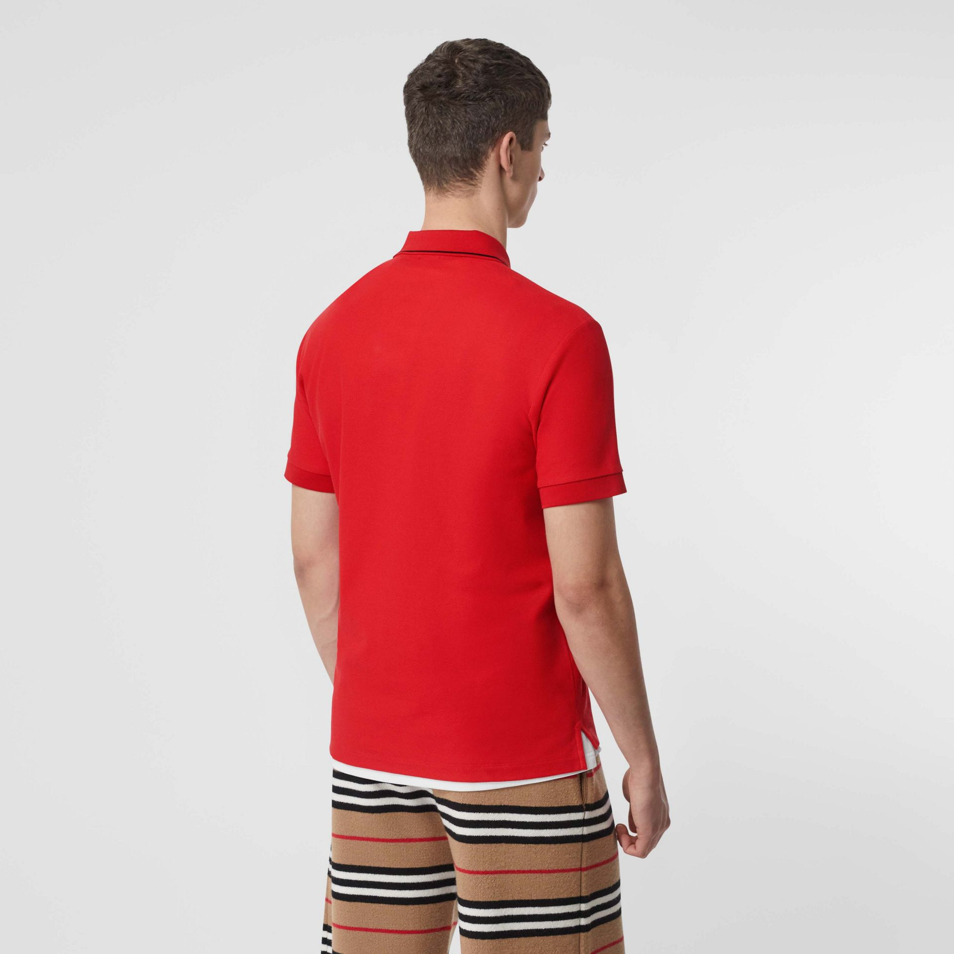 Icon Stripe Placket Cotton Piqué Polo Shirt in Bright Red - Men | Burberry United Kingdom - gallery image 2