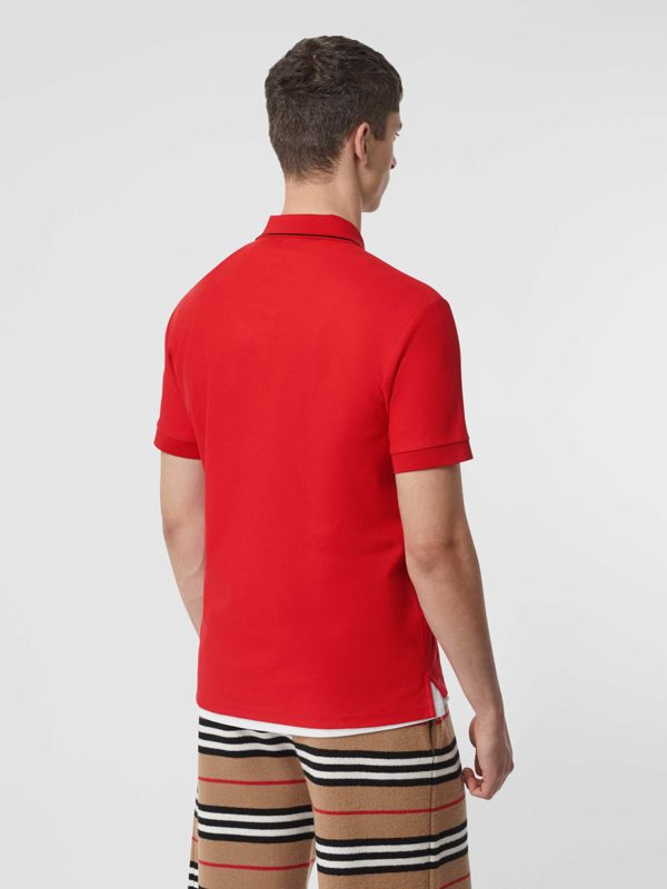 Icon Stripe Placket Cotton Piqué Polo Shirt in Bright Red - Men | Burberry United Kingdom - cell image 2