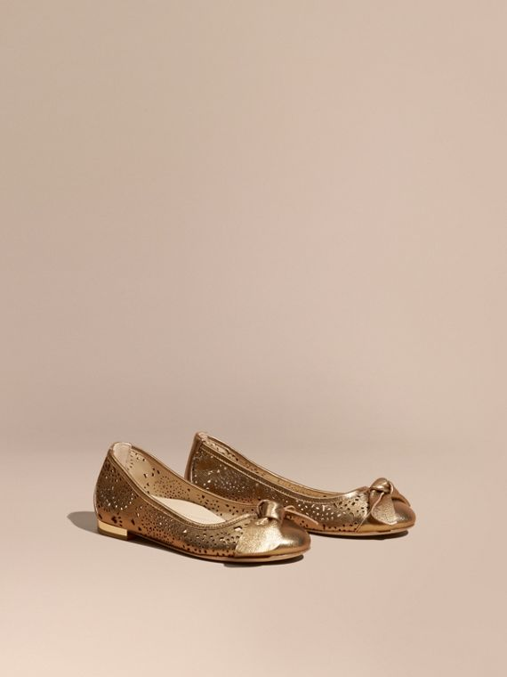 Laser-cut Metallic Leather Ballerinas