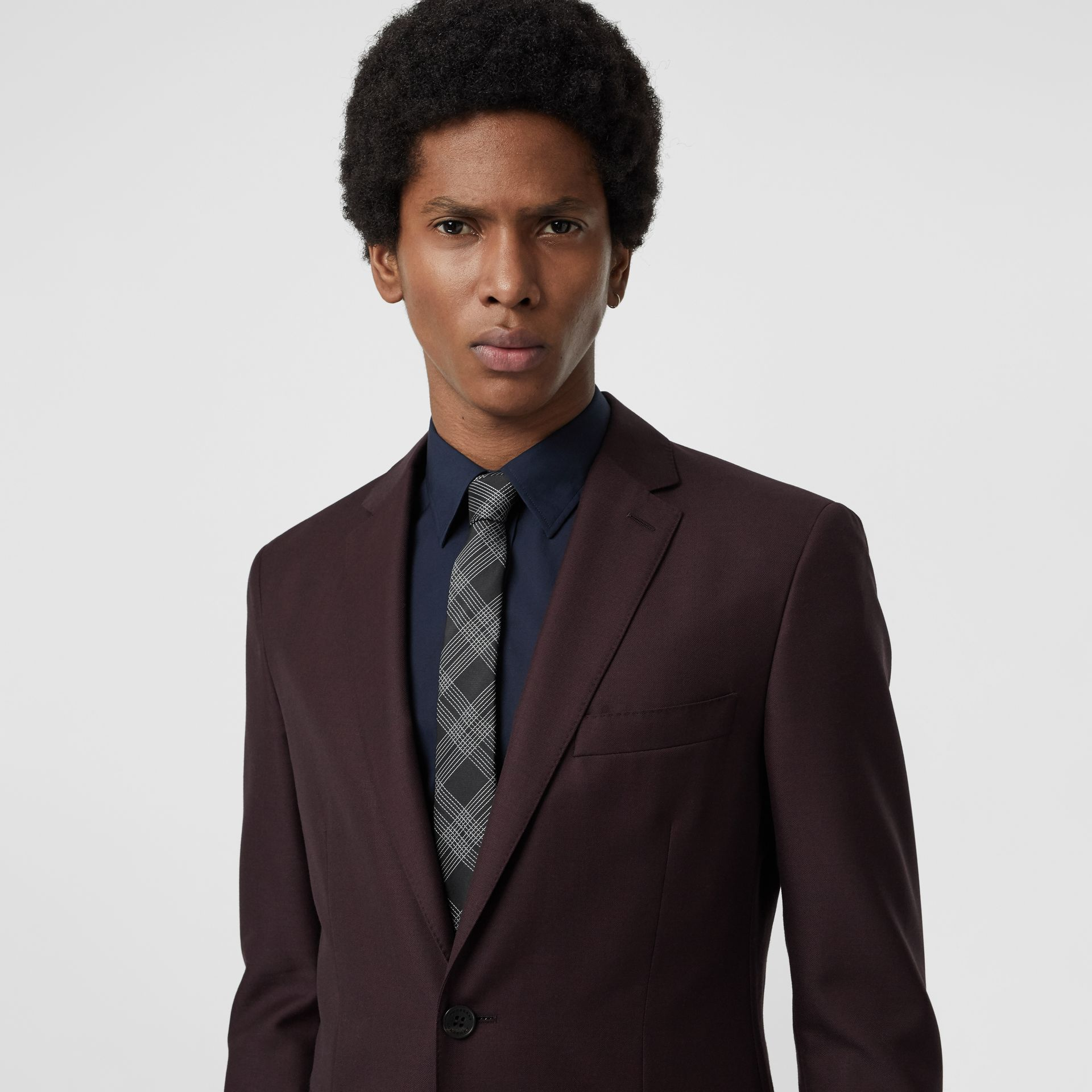 Modern Cut Check Silk Jacquard Tie in Black - Men | Burberry - gallery image 2