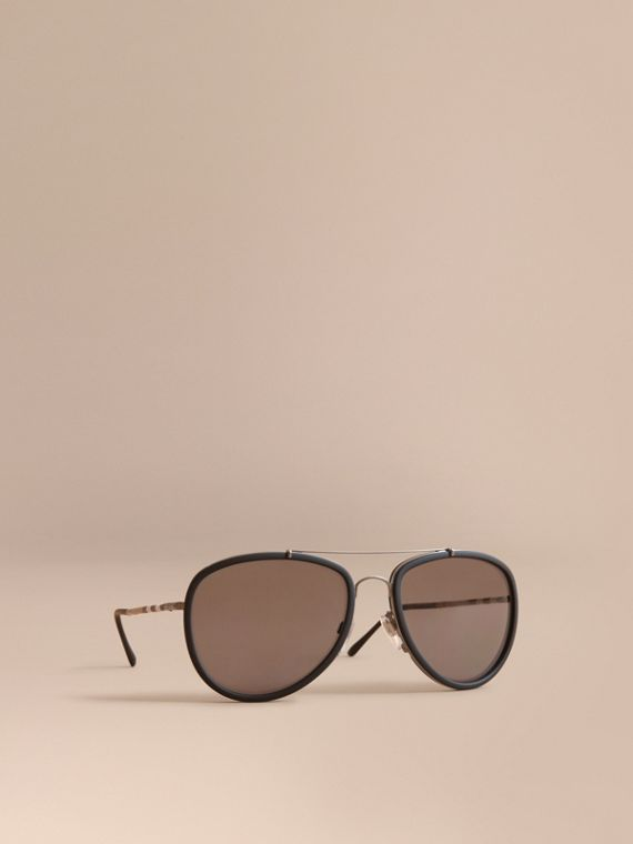 Check Detail Pilot Sunglasses - Men | Burberry Singapore
