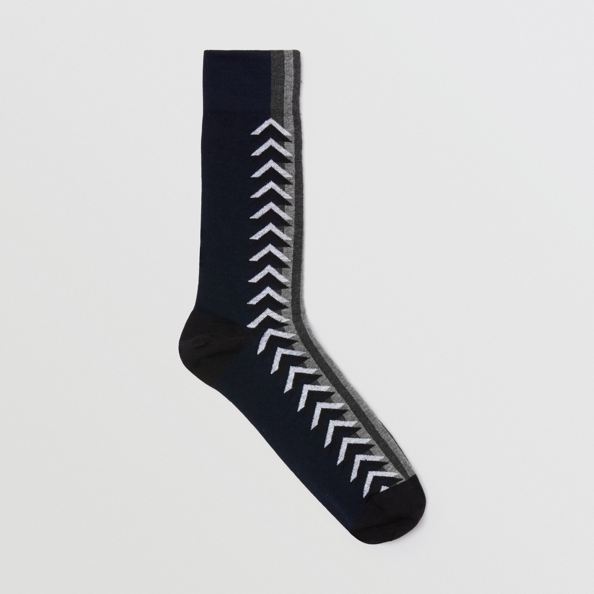 Graphic Intarsia Cotton Blend Socks in Navy - Women | Burberry - gallery image 0