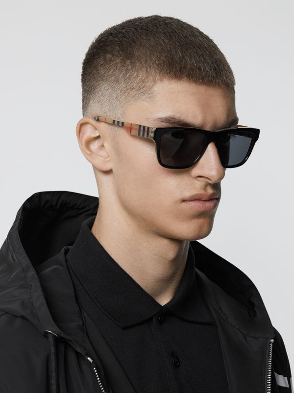 Vintage Check Detail Square Frame Sunglasses in Black / Beige - Men | Burberry - cell image 2
