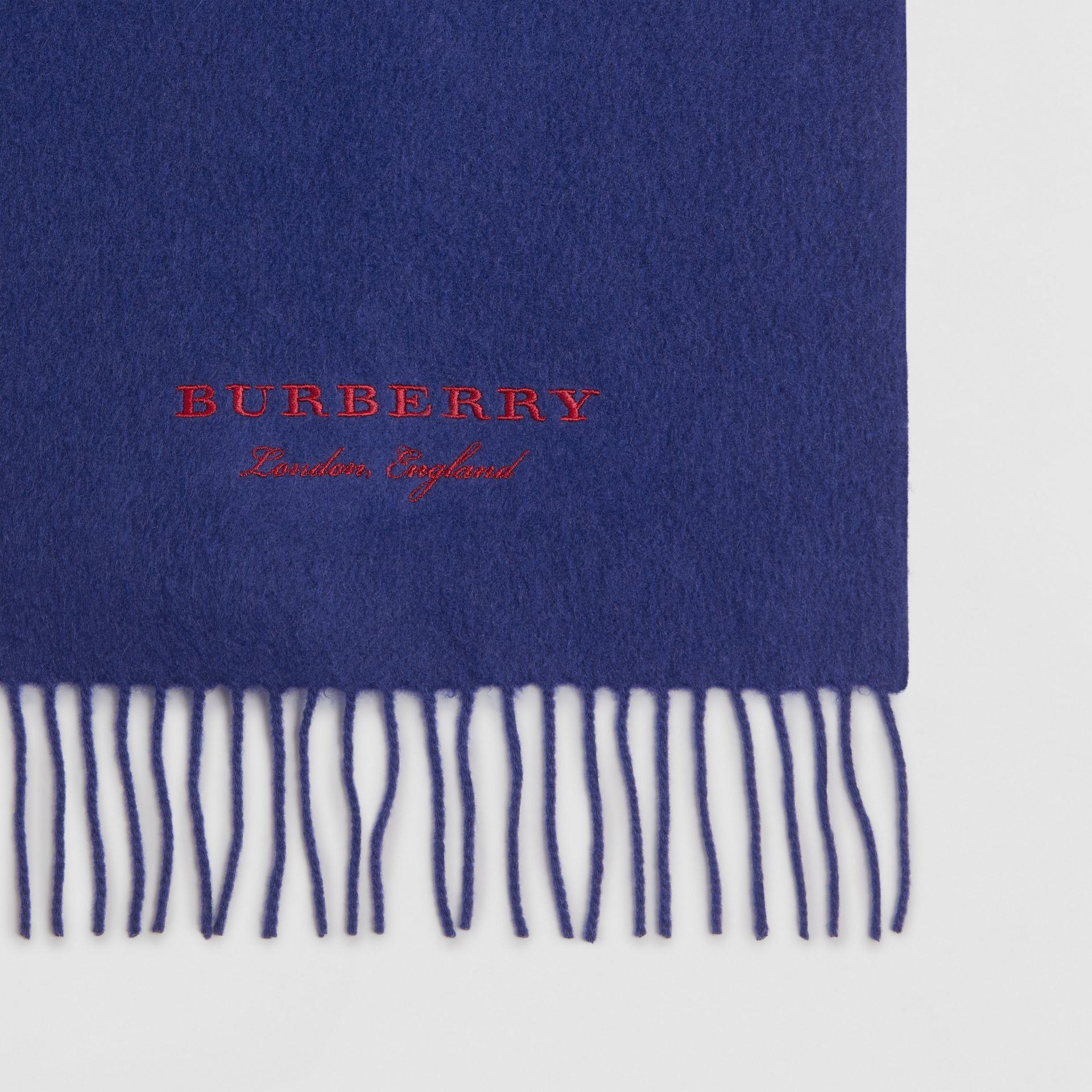 Embroidered Cashmere Fleece Scarf in Bright Navy | Burberry Australia - gallery image 1