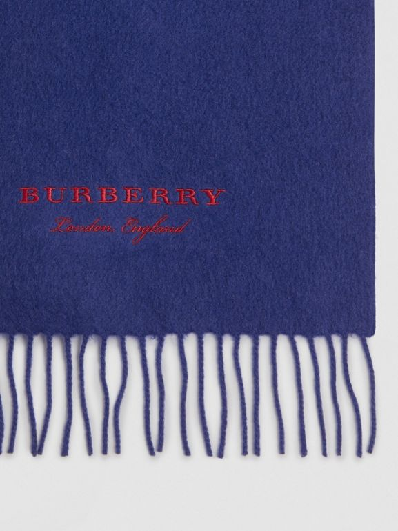 Embroidered Cashmere Fleece Scarf in Bright Navy | Burberry - cell image 1