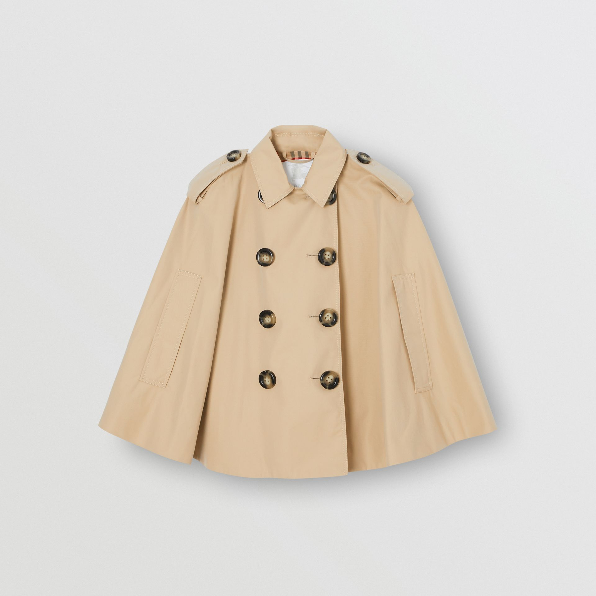 Cotton Gabardine Trench Cape in Honey | Burberry United Kingdom - gallery image 0