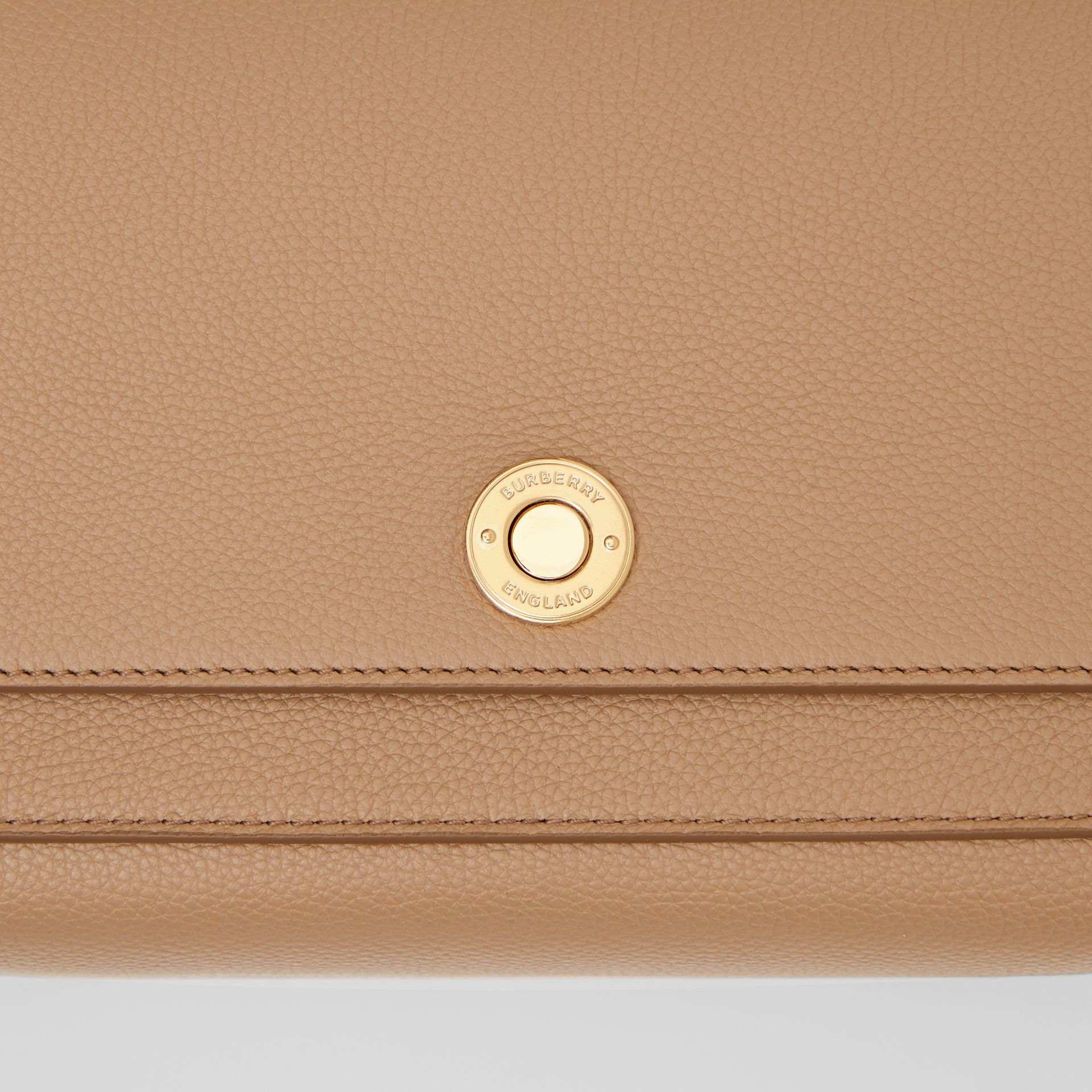 Grainy Leather Note Crossbody Bag in Camel - Women | Burberry Australia - gallery image 1
