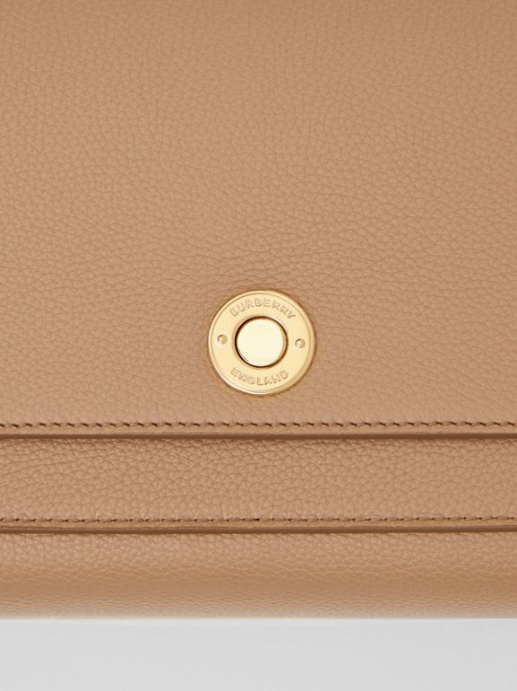 Grainy Leather Note Crossbody Bag in Camel - Women | Burberry Australia - cell image 1